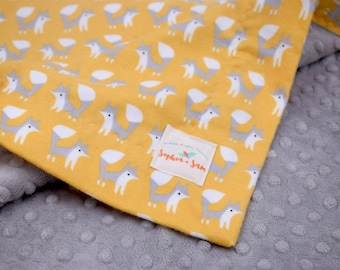 Foxes Gold Gray Minky and Organic Flannel Fabric Bundle