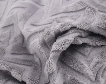 Gray Chevron Minky Fabric