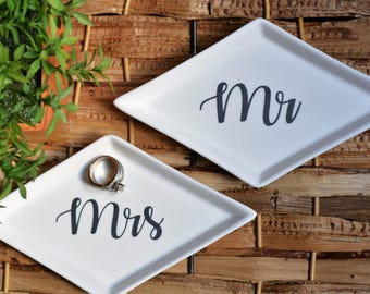 Personalized jewelry dish; bridal gift; shower gift; newlyweds; engagement party; engagement gift; bride to be; bachelorette party