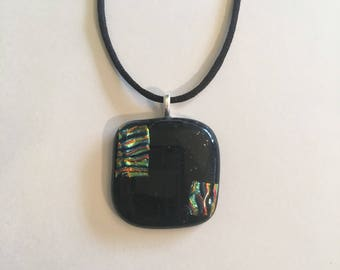 Black and dichroic elegant fused glass necklace
