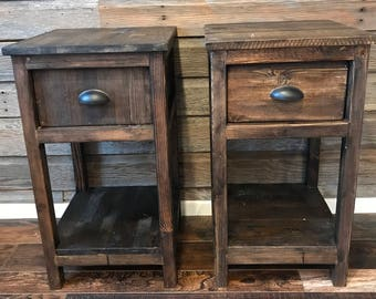 Etonnant Rustic End Tables   Set Of Two