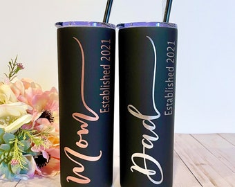 Mom Tumbler Mom appreciation Personalized Tumbler with straw Mom EST Gift New Mom Gift Stainless Steel Water Bottle Mom Established