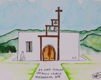 Mission Church watercolor