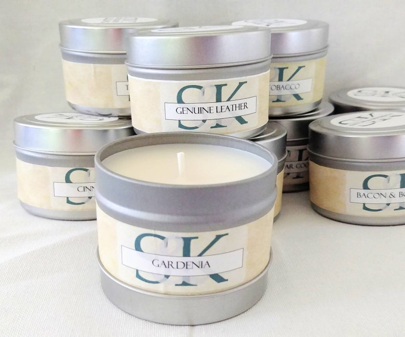 Scented Candles Wholesale Favors 8 oz Soy Candles in Tins Resale Candles Hand Poured Handmade Cruelty Free