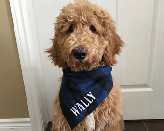 Embroidered Buffalo Plaid Dog Bandana, Personalized Doggie Bandanna, Custom Puppy Scarf, Pet Scarves