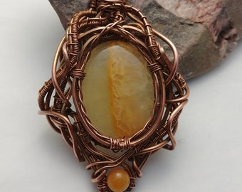 Copper Wire Wrapped Pendant with Yellow Calcite