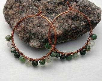 Copper Hoop Earrings with Green Fancy Jasper