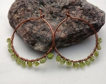 Copper Hoop Earrings with Peridot