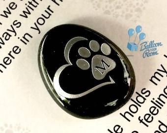 Engraved Paw Print Pocket Pebble - In Loving Memory - Memorial Keepsake Pebble