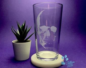 Engraved Skull Pint Glass