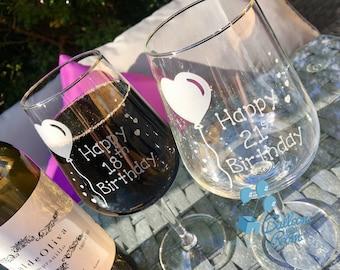 Happy Birthday - 18th - 21st - 30th - 40th - 50th - 60th - Birthday Balloon - Engraved Wine Glass