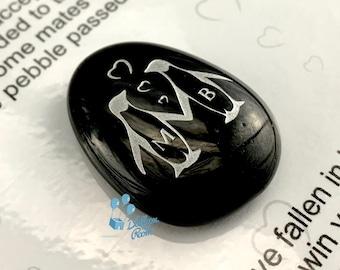Engraved Penguin Pebble - Personalised With Initials - Keepsake Pebble