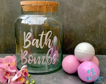Engraved 5 litre Bath Bomb Storage Jar with Cork Lid - Personalised Jar