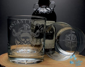 Instant Pirate Just Add Rum - Engraved Low-Ball Glass - Rum Glass