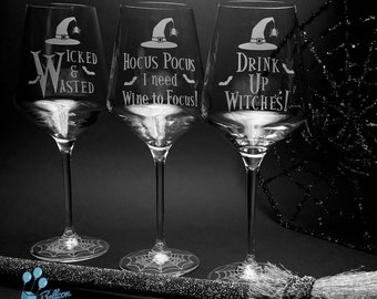 Engraved Halloween Wine Glasses - Wicked and Wasted - Hocus Pocus I need Wine to Focus - Drink Up Witches
