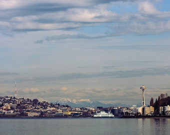 Alki Beach - Digital Photography Print - photograph art blue sky Washington