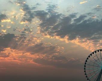 Ferris Wheel, Seattle -  Digital Photography Print - Washington Puget Sound Photograph