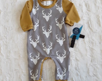 956737922d6 Gray and mustard deer romper