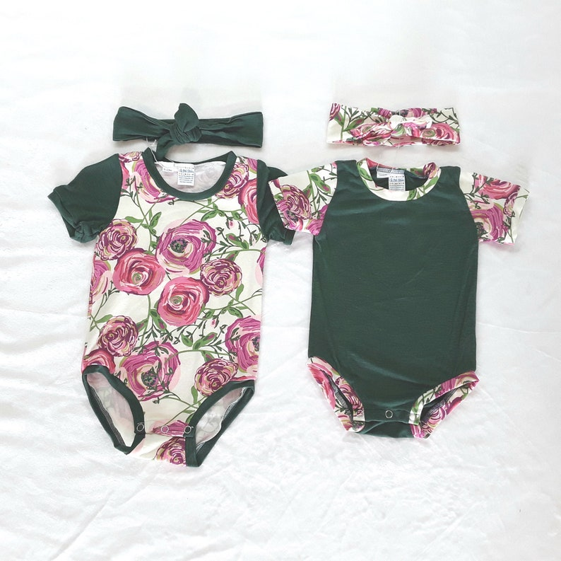 6 month top and bow Green and floral bodysuit with headband infant gift set 12 month girl flower shirt and knot bow