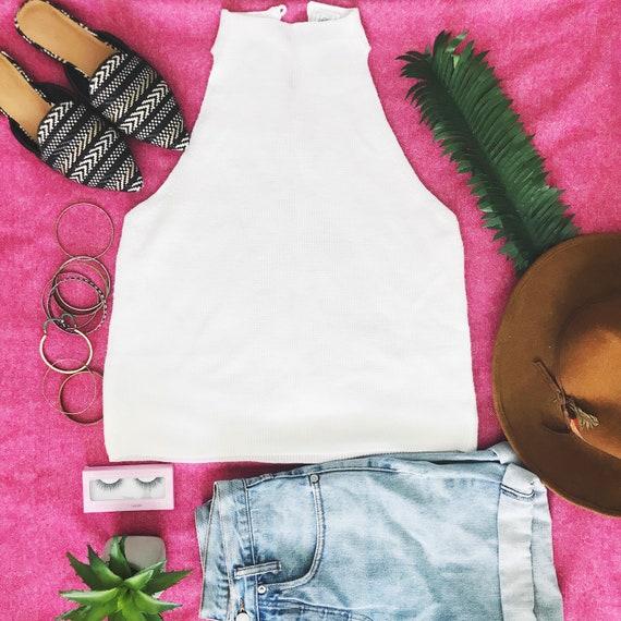 Vintage Lee Sweater Tank | White Sweater Tank Top