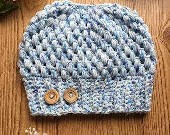 Messy bun, crocheted hat, perfect for long hair, pony tail hat, winter, hole with hat in it,