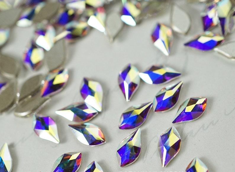 f90346ca14203c Swarovski Crystals FLAME shape Crystal AB Flat Back Fancy