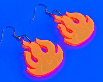 d94a1dcaa Large Neon orange flame fire shape acrylic earrings - striking uv glow in  the dark blacklight for rave festival party outfit