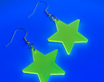 b3d4cf0ed Large Neon yellow star shape acrylics earrings - striking uv glow in the  dark blacklight for rave festival party outfit
