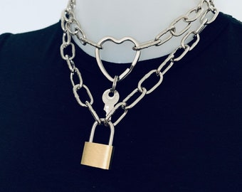 bb2629def3b Duo Set of 2 silver metal Industrial style chunky chains