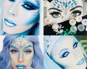 Snow ice queen halloween complete makeup set includes crystals pearls gems strong skin glue chunky and fine glitters, blue white face paints