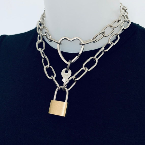 set Super chunky silver chain and chunky plain padlock chain necklace