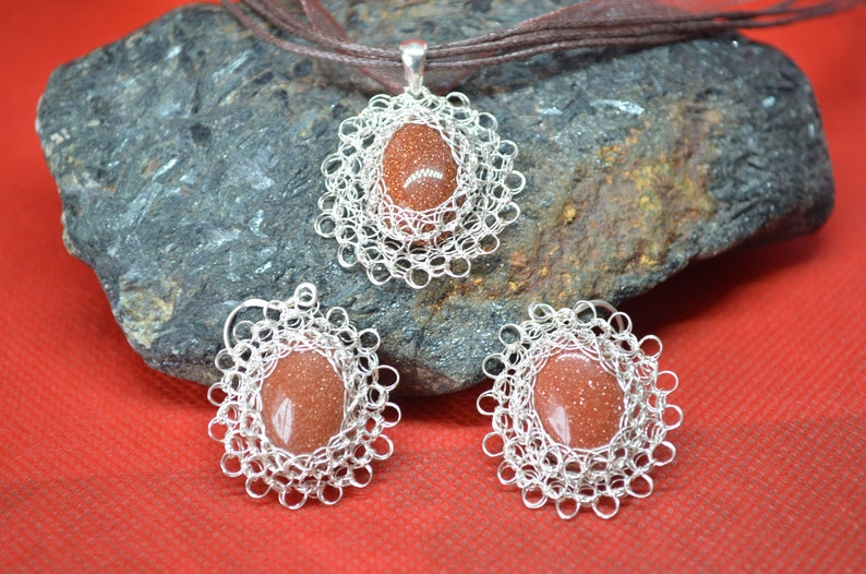 handmade original jewelry Adornment necklace and earrings in silver knitting Brown set silver jewelry knitted jewelry crochet
