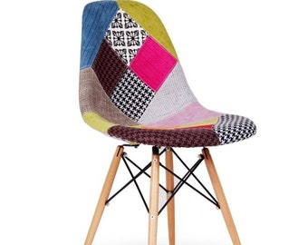 Retro Patchwork Chair Fabric Seat Vintage Home Furniture DSW