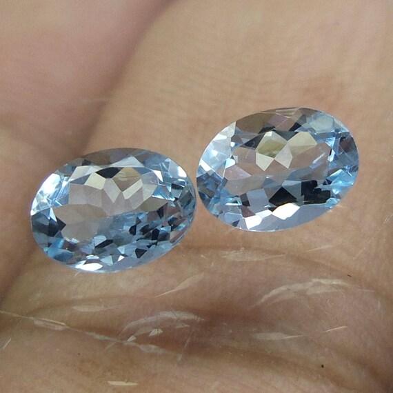 1,4 carat MM 5 x 7 MM carat Top qualité naturelle couleur bleu aigue marine facettes de forme ovale couper Pierre, pierres précieuses en vrac aigue-marine, ensemble de 2 pièces 5bc978