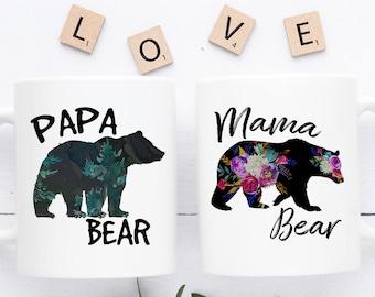 Mama & Papa Bear Mug Set | Mama Bear, Papa Bear, Mama Bear Mug, Papa Bear Mug, Mama and Papa Bear Mugs, Mom Mug, Dad Mug, Dad Coffee Mug
