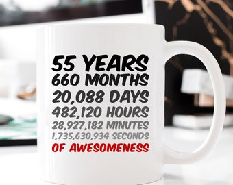 55th Birthday Or Anniversary Gift 55 Years Of Awesomeness Coffee Mug For Mum Dad Husband Wife