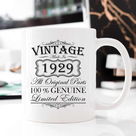 90th Birthday Gift 2019 Vintage 1929 11oz Mug Milestone Etsy