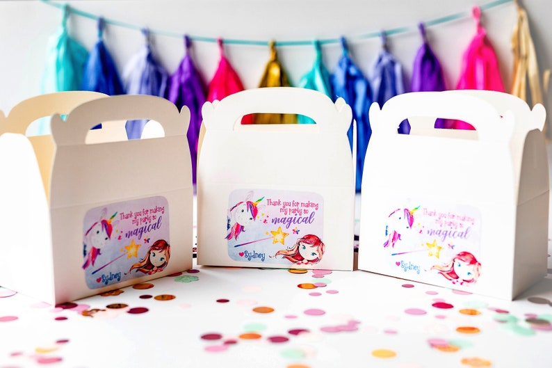 Unicorn Party Favor Boxes Unicorn Birthday Party Boxes Gable Boxes Rainbow Magical Girl Birthday Party Gift Tags Bags