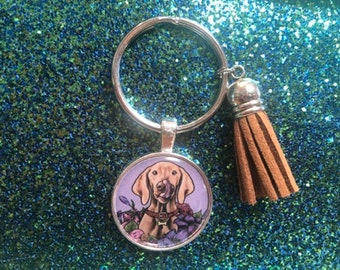 Boykin spaniel Vintage hunting dog keychain or necklace or retractable ID badge clip Free shipping Gift