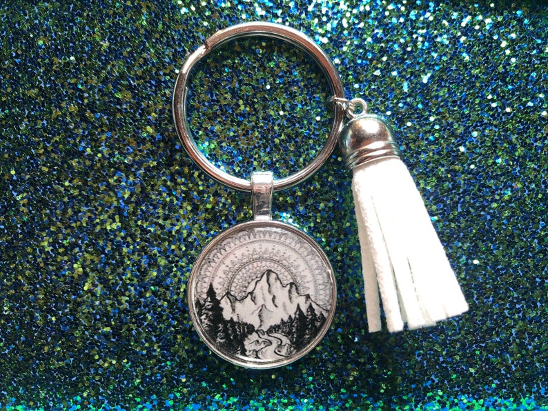 Mandela mountain keychain or necklace or retractable ID badge clip Free shipping Gift