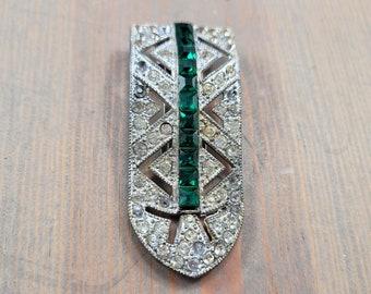 Vintage Ornate Emerald Green Rhinestone Shoe Clip, or Dress Pin, Women's Diamonte Silver Tone Brooch, T&G Vintage Jewelry, Clip-On