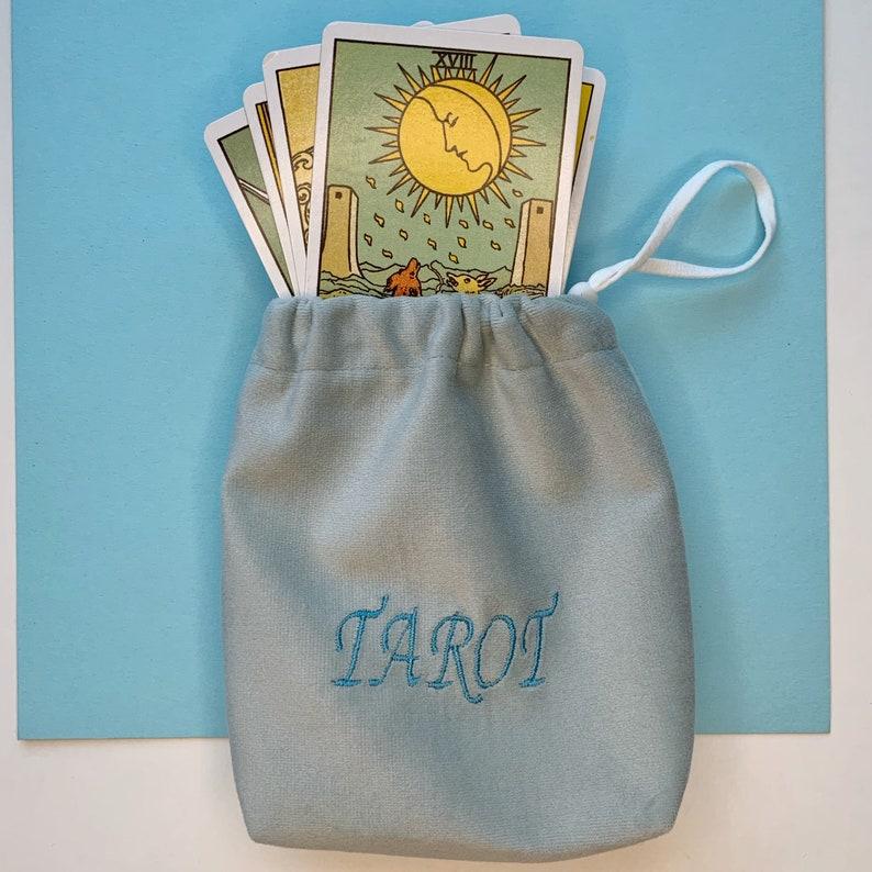 Spiritual Gifts Wicca Bag Protective Pouch, Blue Tarot Cards Bag Pastel Blue Sack Bag for Tarot Cards Tarot Bags