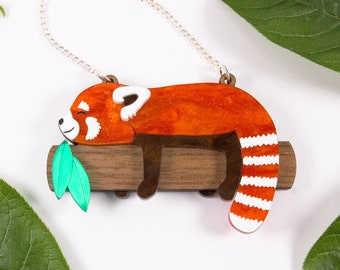 Red Panda Necklace, Sleeping Red Panda Orange Pearlescent Acrylic Statement Necklace, Animal Lover Jewellery