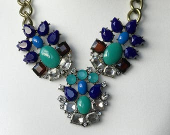 Blue and green bib statement necklace