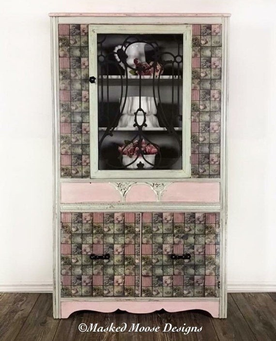 Antique China Cabinet Farmhouse Hutch Kitchen Storage Cabinet Bathroom  Storage Cabinet Display Cabinet Hand Painted Furniture