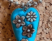 Silver flower turquoise e...