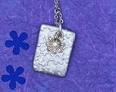 Silver flowers stamped cl...
