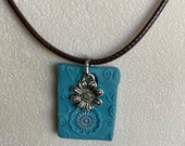 Blue clay flower necklace...