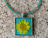 Pressed yellow daisy resi...