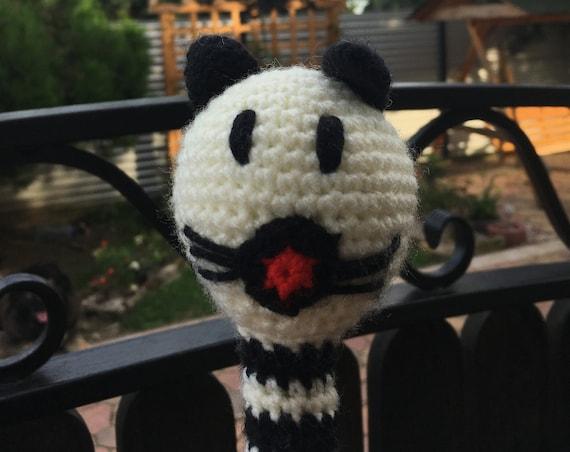 Crotchet rattle cat soft toy handmade Amigurumi